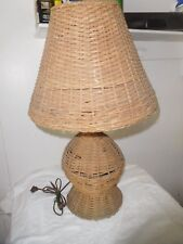 ANTIQUE WICKER TABLE LAMP & SHADE ARTS & CRAFTS MISSION ORIGINAL WORKS
