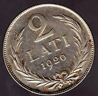 """2 Lati 1926 Lettland Wappen"""" in fast unzirkuliert"""