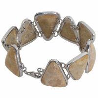 Damen Edelstein-Armband echt Silber 925 Sterling Fossilien-Jaspis 19,5 cm lang