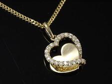 333  Gold 8 Karat Gelbgold Kette mit Herz Anhänger  weiße Zirkonia Steine
