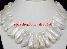 Beautiful Charming White Biwa Pearl Jewelry Necklace 18""