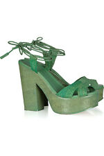 RALPH LAUREN COLLECTION ALBERTA GREEN RAFFIA CORK WEDGE HEELS 7.5 5 £380!