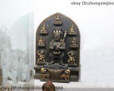 "17""Tibet Buddhist Rare stone Rock Sakyamuni Black Jambhala God Buddha Statue"