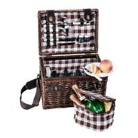 Picknickkorb für 4 Personen - aus brauner Vollweide mit Tragegurt und Zubehör