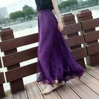 Chiffon high waist retro maxi dress new pleated long skirt skater swing flared
