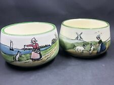"""2 Vintage G S ZELL Bowls With Girls Cats & Dogs Dutch Scenes Hand Painted 4"""""""