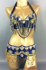 Brazilian SAMBA Costume Sequin Belly dance Carnival Bra Top & Hip Belt & Skirt