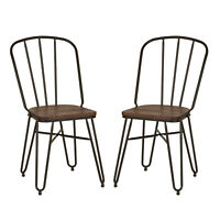 Glitzhome Rustic Wood Seat Metal Dining Chairs Vintage Industrial Home Set of 2