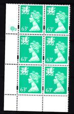 Wales Questa 63p Emerald Cyl Q2 x 6 Mnh