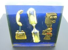 Lucite Acrylic Paper Weight Sand Egg Timer Telephone Advertising Vintage
