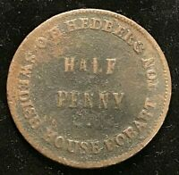 Australia O.H Hedberg Copper Penny Tasmania Hobart Token Fine
