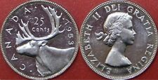 Brilliant Uncirculated 1953 Canada No Shoulder Fold Silver 25 Cents