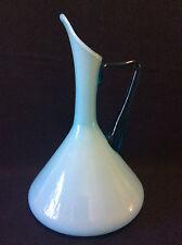 superbe grande Carafe opaline bleu 1litre 1-4 verre soufflé