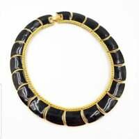 Vintage Signed MONET Gold Tone Black Enamel Necklace Choker