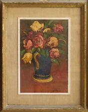 GIOVANNELLI NELLO Vaso di  Rose Dipinto Originale Olio - Painting Roses Flowers