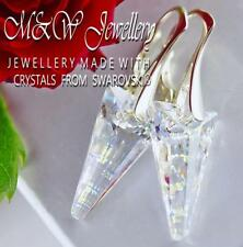 925 STERLING SILVER EARRINGS 18MM SPIKE WHITE PATINA - Crystals from Swarovski®