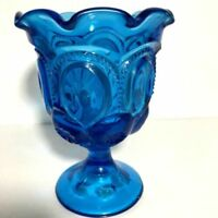 """Moon and Stars Colonial Blue L.E. Smith 5"""" Low Ruffled Compote"""