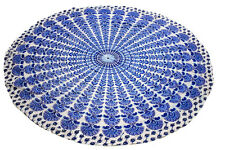 """72"""" Round Indian Fitted Printed Cotton Floral Cloth Dining Table Cover Decor Art"""