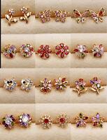 Luxury Flower Ear Stud Earrings Women 18K Gold Filled Topaz Zircon Jewelry Gift