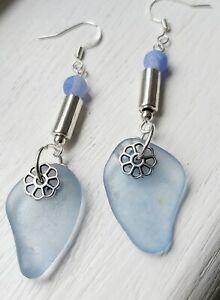 Cornflower blue sea glass dangle earrings