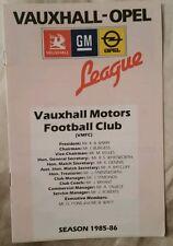 Vauxhall Motors v Luton Town Friendly Programme 21/10/85