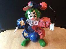 Vintage Paper Mache Clown Holding Balloons