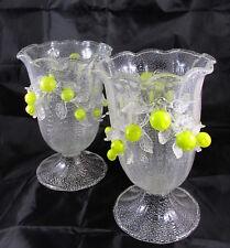 Old Italian Venetian Blown Art Glass Pedestal Vase w/Applied Figural Lemons x2