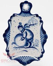 Gzhel Porcelain cheese cutting board made Russia Author's Work Souvenir handmade