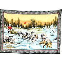Vintage Tapestry Iditarod Wilderness Snow Scenery Wall Art 56x39 Eskimo Sled Dog