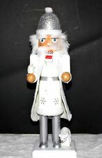 """SANTA DRESSED IN WHITE AND SILVER NUTCRACKER 14"""" TALL - NEW- WOOD- FREE SHIPPING"""