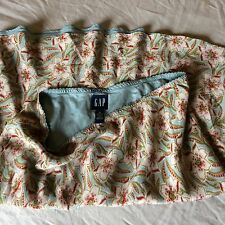 GAP womens Teal Blue Paisley 2 Layer  100% Silk Floral Skirt Sz 10 Garden Party