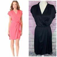 Diane Von Furstenberg Mateo silk wrap front dress size 6 Black