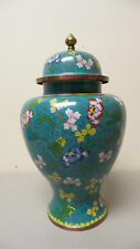 "BEAUTIFUL LARGE ANTIQUE CHINESE CLOISONNE ENAMEL 11.5"" LIDDED JAR / VASE"
