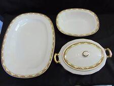 EDWIN M KNOWLES CHINA  Oval Veg Bowl/Lid-Platter-Oblong Veg Dish-Gold Trim 4 Pcs