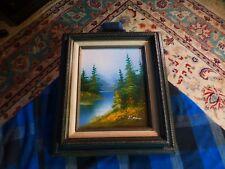 "Vintage MOUNTAIN LAKE NATURE Oil Painting Signed: R. BOREN 14"" X 12"" VG !"