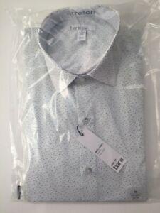 Bar Iii Slim-Fit Scattered Dot-Print Dress Shirt 15-15 1/2 32-33  White Green