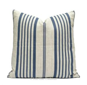 Cabbages and Roses Designer Linen Jolly Stripe Blue Cushion Pillow Cover