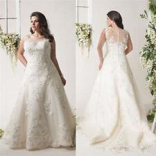 New White/Ivory Lace Bridal Wedding Dresses Custom Plus Size 18-20-22-24-26-28+