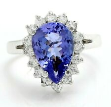 4.07 Carat Natural Blue Tanzanite and Diamonds in 14K Solid White Gold Ring