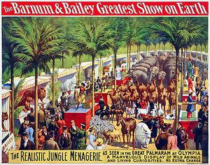 Barnum & Bailey Circus 6, Old Vintage Ad, Magic, Antique, HD Art Print or Canvas