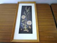 Blumen Bild - Herbarium im Echtholzrahmen - HKW Wandbild Handarbeit /S39