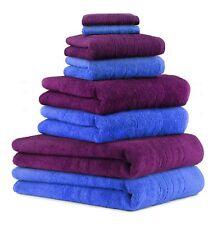 8-tlg. Badetuch Saunatuch-Set DELUXE Farbe: pflaume & blau, 2 Badetücher, 2 Dusc