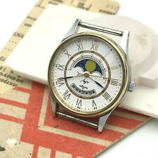 Moon Calendar Date NOS Vintage Quartz Bicolored Men Watch White Golden LUCH GIFT