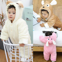 Newborn Baby Boy Girl Fluffy Hooded Romper Bodysuit Jumpsuit Playsuit Outfits KL