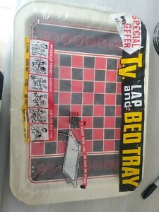 Vintage Retro Metal TV Lap Bed Tray Folding Checkerboard in Package