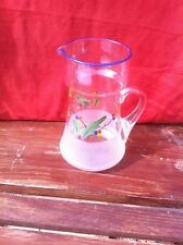 Vintage handmade hand painted glass water pitcher jug