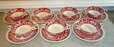 Spode Pink Tower - Flat Cream Soup w Underplate Saucer - Set of 7