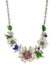 Colorful Pink and White Crystal Flower Statement Necklace - NEW