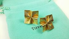 Vintage & Rare Tiffany & Co 18k Yellow Gold Square Sculptural Swirl Earrings