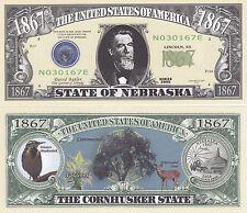 Nebraska Ne State Quarter Novelty Money Bill # 138